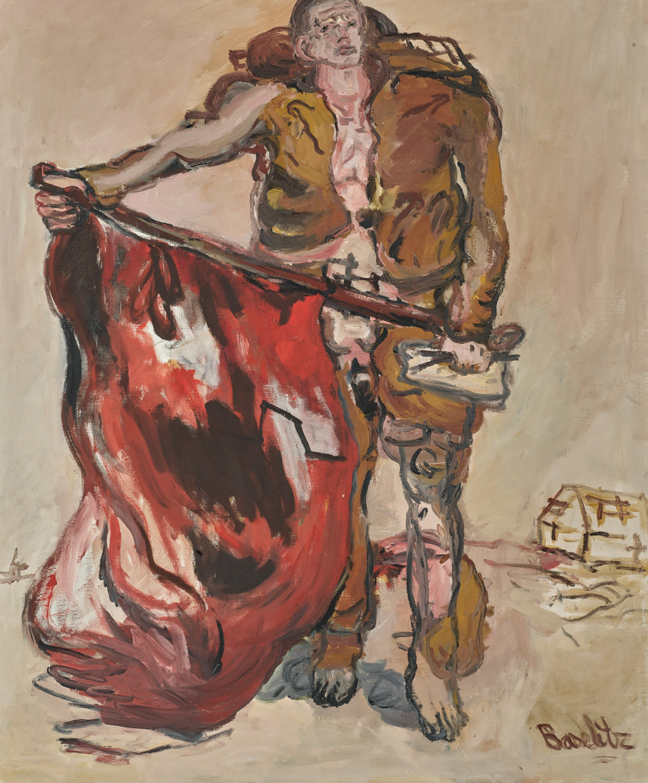 Georg Baselitz, Mit Roter Fahne (With Red Flag)